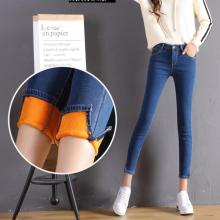 2017 Autumn Winter Jeans Female Thicker Jeans Soft Warm Gold Velvet Ankle-Length Pants Cuff Split The Fork Small Pencil Pants