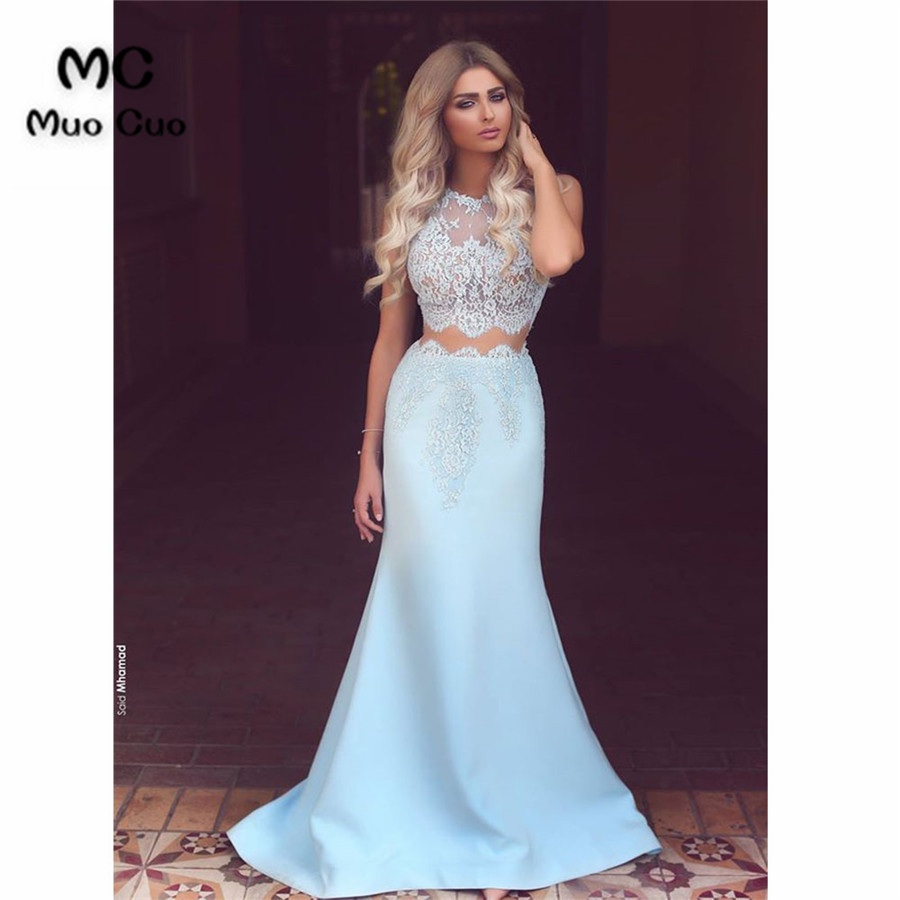 2019 Illusion   Prom     dresses   Long Two Pieces Gown Vestidos de fiesta   dress   for graduation Appliques Satin Formal Evening   Dress