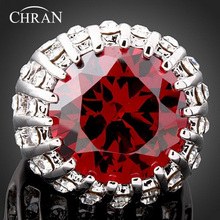 Chran Brand Jewelry Crystal Wedding Rings Fashion  Statement Jewelry AAA Cubic Zirconia Engagement Rings for Women princess crown big rings for women vintage aaa cubic zirconia micro engagement wedding rings female anel accessorie fine jewelry