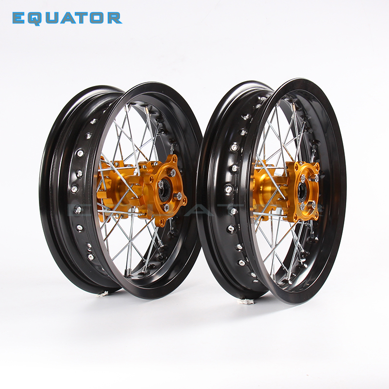 motorcycle parts Pit bike Rims 15mm hole 2.50 x 12inch & 3.00 x 12inch front and rear wheel with gold CNC hub dirt bike KTM CRFmotorcycle parts Pit bike Rims 15mm hole 2.50 x 12inch & 3.00 x 12inch front and rear wheel with gold CNC hub dirt bike KTM CRF