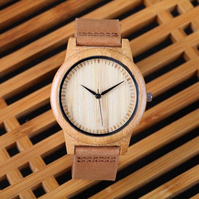 b63b45d90948 2018 Fashion Luxury Men s Women s Bamboo Wood Watch Quartz Genuine Leather  Wristwatches Hot New Arrival reloj de pulsera