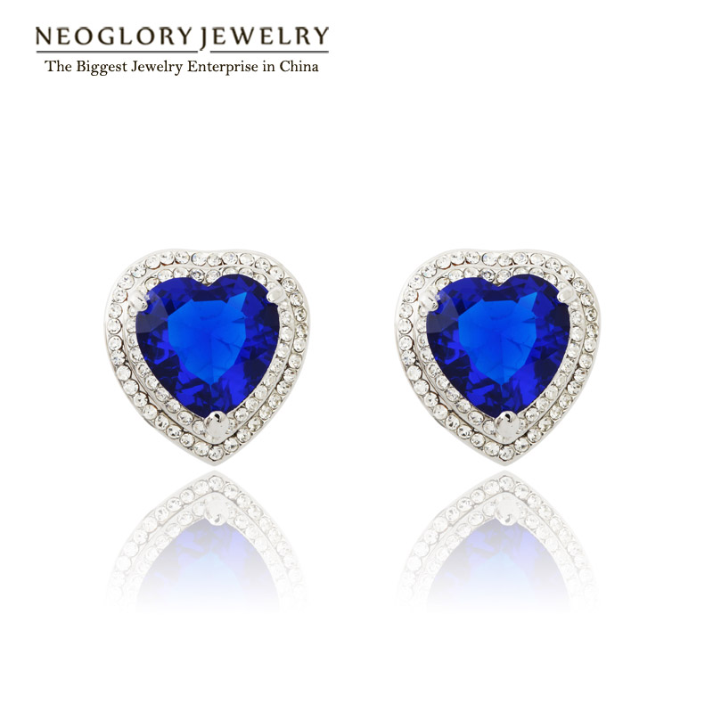 Neoglory CZ Stone Rhinestone AAA Zircon Heart Love Stud Earrings for Women Women