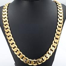 Davieslee 18-36 PULGADAS/12 MM CUT CURB Cadena CUBANA Collar Mens Cadena Para Mujer Cadena de Oro Llena de Joyas partido Desgaste Diario DLGN270