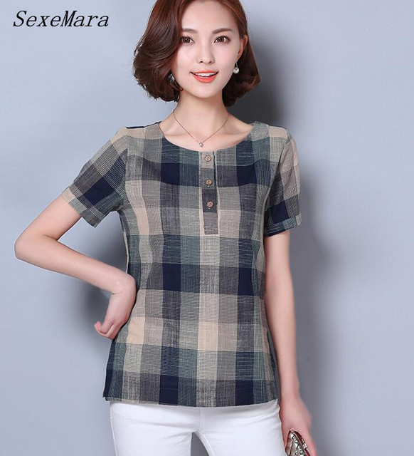 Free Shipping National Style Summer Hot Sale Plus Size M-XXXL Plaid Short Sleeve Woman Cotton Linen Blouse