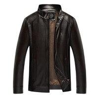 New Fashion Men's Winter PU Leather Jackets Faux Jacket Korean Stylish Slim Fit Coats Men Moto Skull black brown Jacket For Men