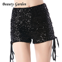 Beauty Garden Women Fashion Sequined Sexy Club Shorts Black Solid Mid Waist Drawstring Lace Up Shorts
