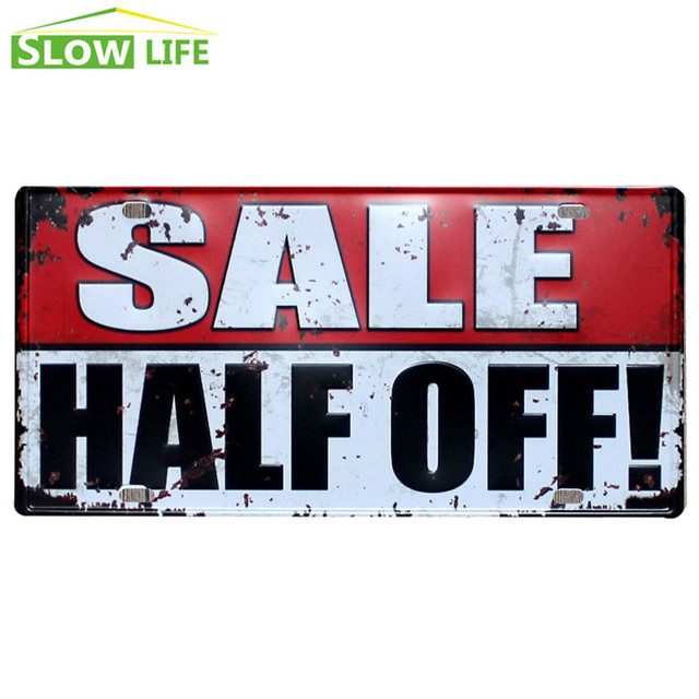 Online Shop Sale Half Off Car License Plate Vintage Home Decor Tin