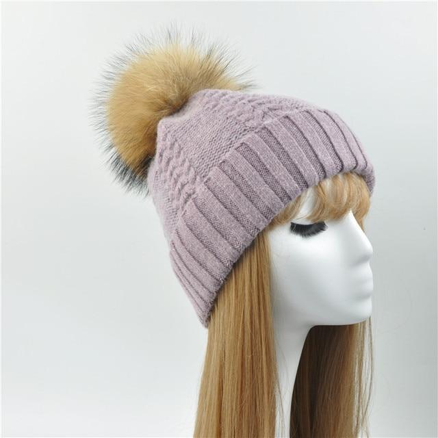 a77999c82ef Winter Real Raccoon Fur Pom Pom Hat Women Ladies Wool Knitted Cap With Big  Fluffy Fur Pompom Wool Cashmere Angora Fur Beanie Hat