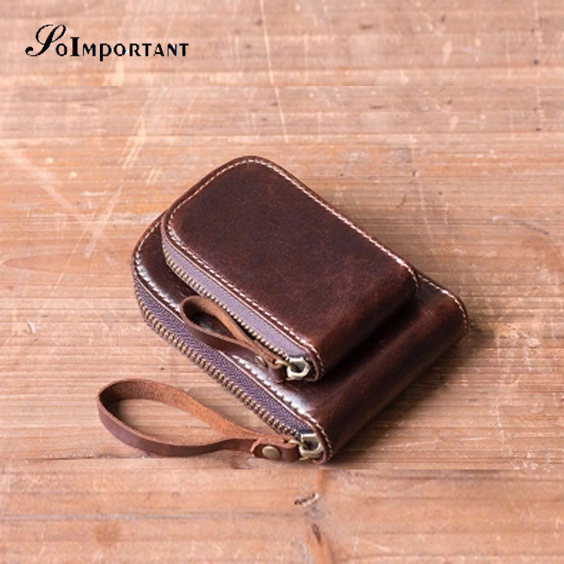 Genuine Leather Men Card Holder Wallets Male Vintage Housekeeper Zipper ID Card Walet Co ...
