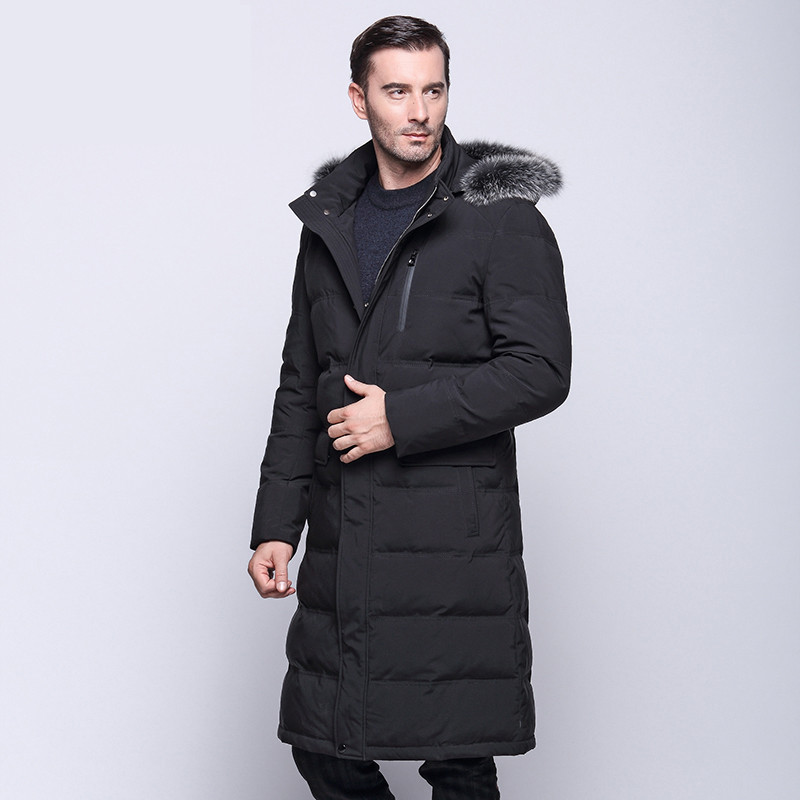 2017 winter high-end men's down jacket cotton warm coat white duck business casual men's jacket long hooded Overcoat Windproof high end business man white duck down jacket 2016 models 90% white duck down men outdoors with tops in thick warm coat long coat
