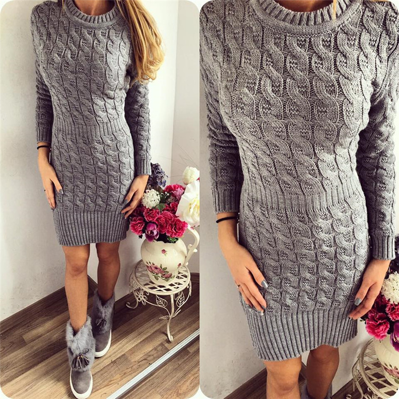 New Arrival Autumn Winter Knitted Dress Women O-neck Sexy Solid Party Dresses Long Sleeve Elegant Bodycon Sweater Dress Vestidos
