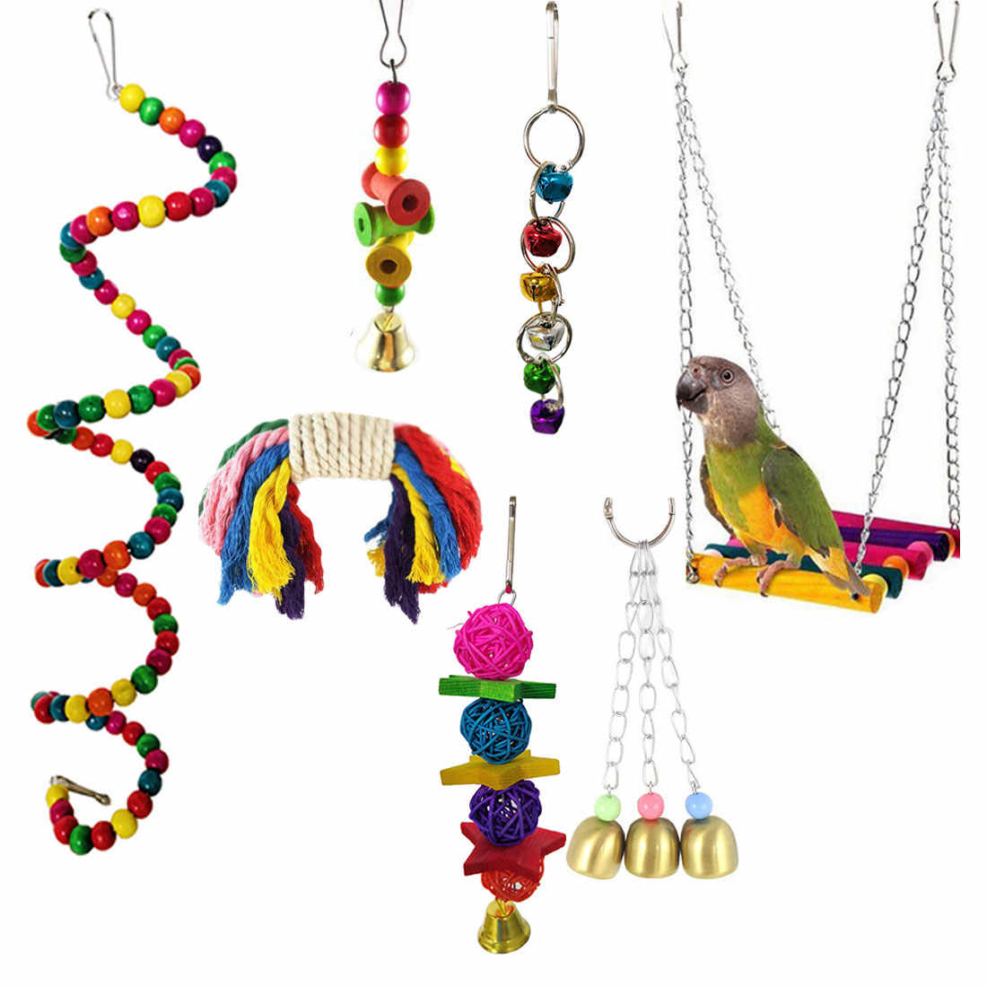 7pcs/Set Pet Budgie Cockatiel Cage Hammock Swing Toys Kit Wooden Bead Bird Parrots Toys Chewing Hanging Bell