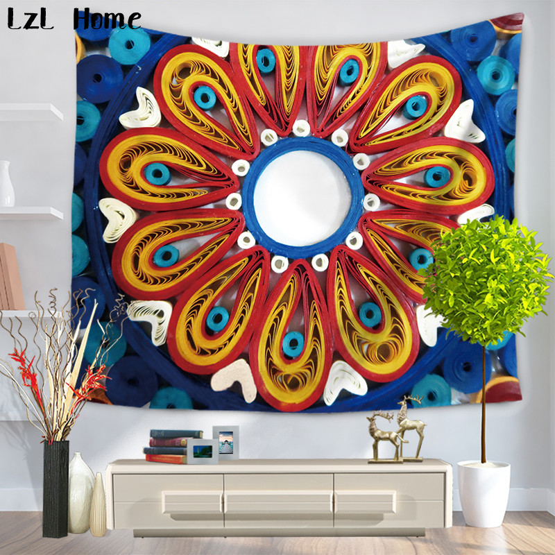 LzL Home Lotus Printed Bohemian Mandala Tapestry Hippie 3d Wall Tapestries Pool Table Decorations Dorm Cover Yoga Mat Bedspread