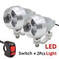2PCS Waterproof Motorcycle Headlight Led Fog Light Spot Light Range 200m Lamp Head Light with Switch