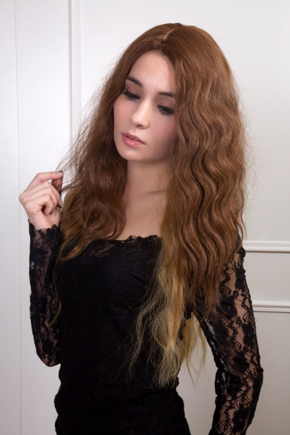 0000120 new fashion female glamor side skin part high-end synthetic hair wig no bangs