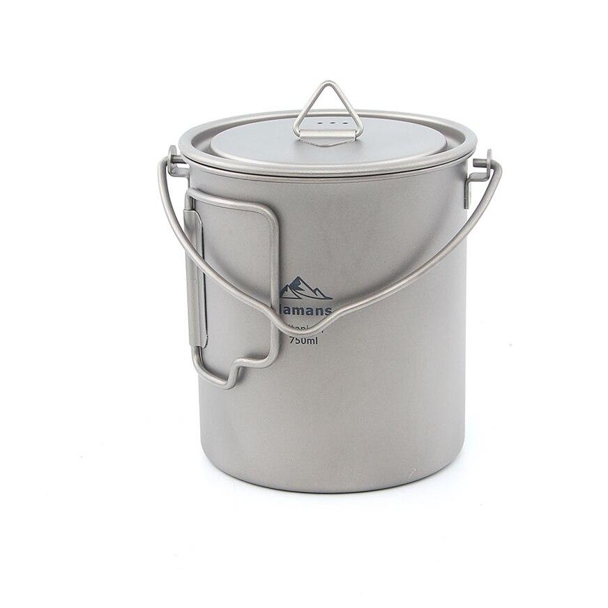 HAMANS HMS-POT-750 ultra-léger 750 ml titane Pot Portable titane tasse à eau en plein air Camping cuisine pique-nique