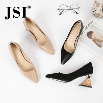 JSI New Fashion Ladies Pumps Soft Kid Suede Pointed Toe Spring Autumn Slip-on Female Dress Shallow Handmade Shoes Sandals JO116