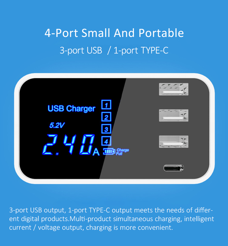 Quick Charge 2.0 Smart Type C USB Charger HUB Station (2)