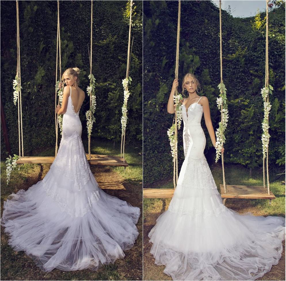Spaghetti Strap Lace Mermaid Wedding Gowns: 2015 Riki Dalal Wedding Dress Romantic Spaghetti Straps