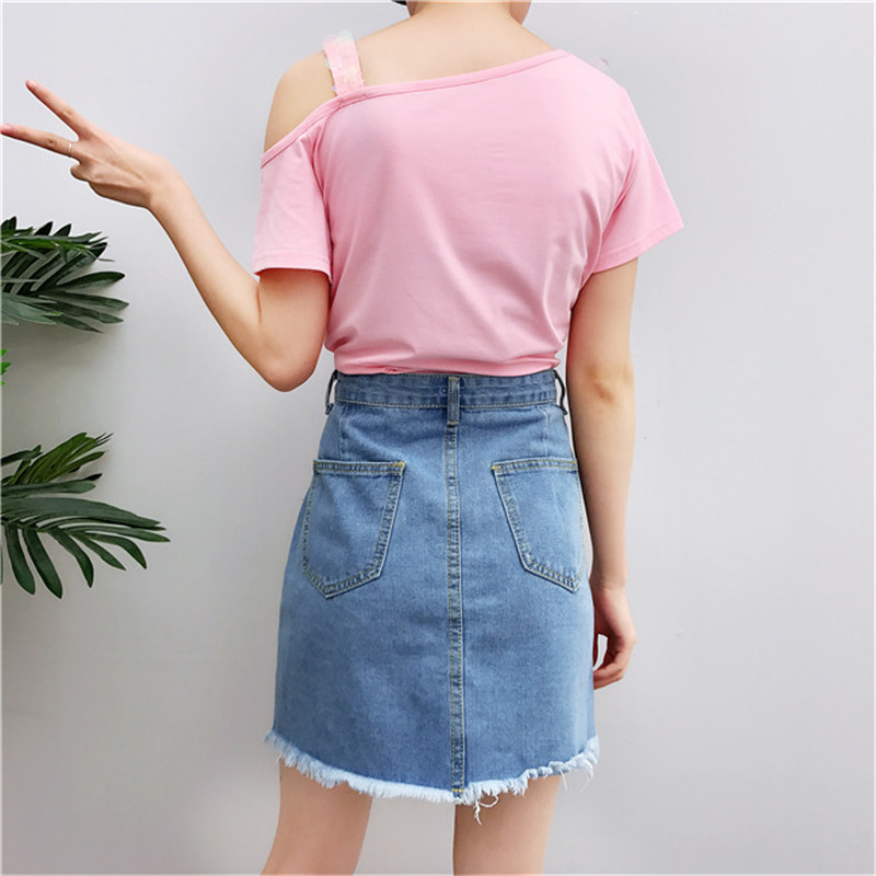 26cd8b710f Sequins Suits Short Sleeve tshirts and Denim Skirts 2 piece set Women  Ripped Skirt and Pink t shirt crop tops Femme sets-in Women's Sets from  Women's ...