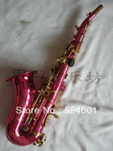 Wholesale small bend soprano saxophone in B flat pink body golden key