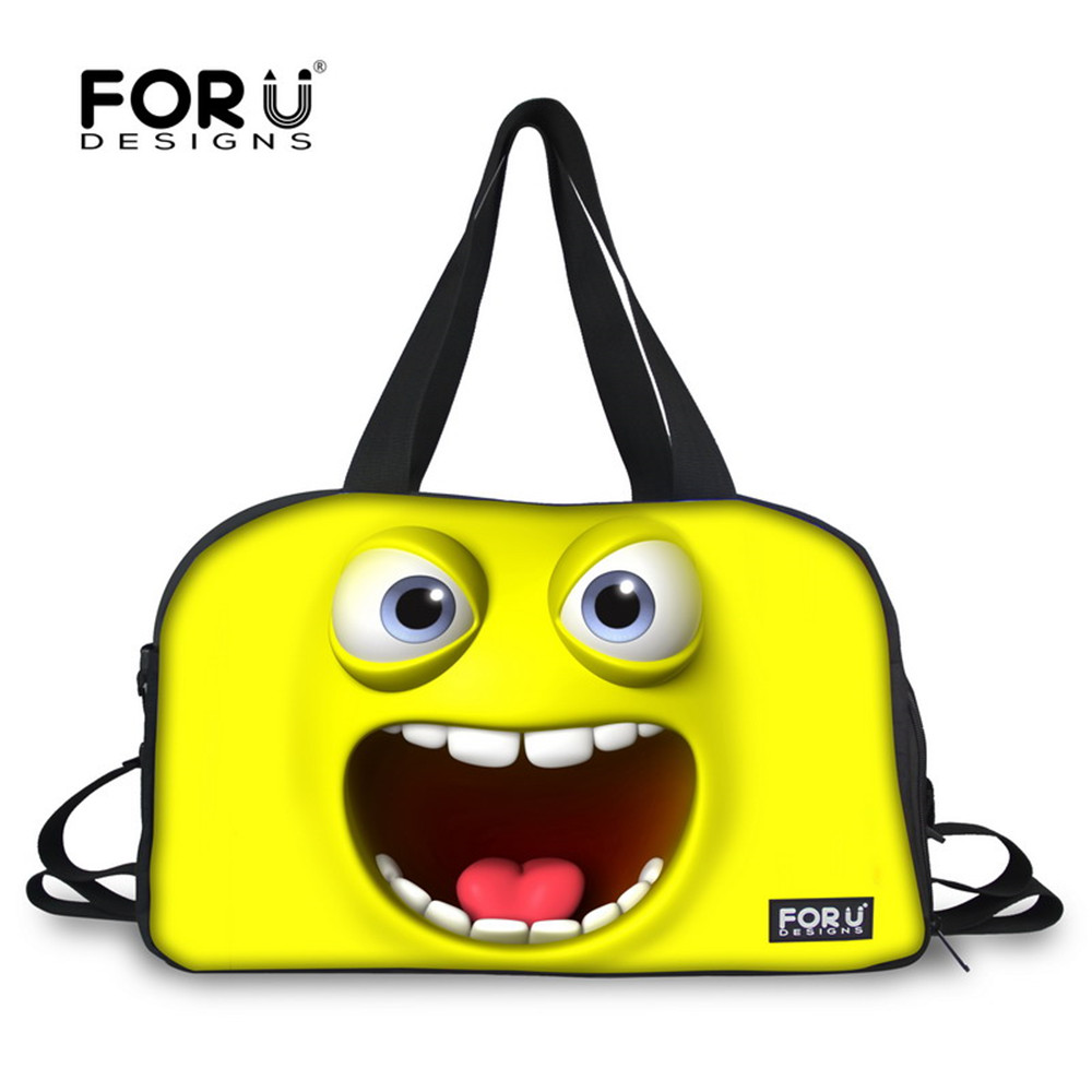 FORUDESIGNS Yellow Funny Emotion Training Bags for Men and Women Unisex Large 28L Sport  ...