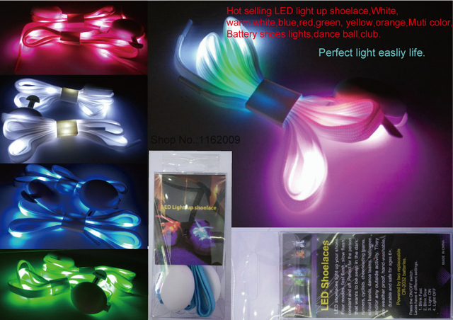 Led Light Up Shoelace White Warm Blue Red Green Yellow Orange Muti Color Battery On Off Shoes Lights Flashing Dance Ball
