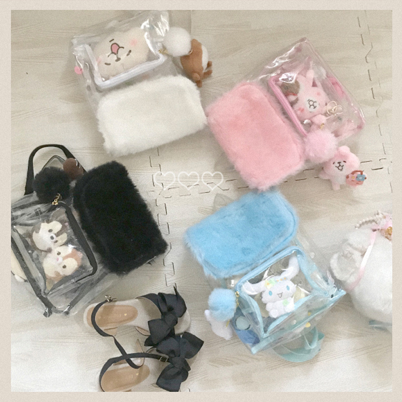 Japan Harajuku Girls Kawaii Bling Transparent School Bag Backpack Furry Itabag  Clear Back pack Plush ball Gift 731623a5d294