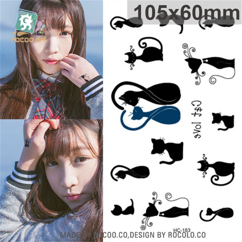 Body Art wterproof temporary tattoos paper for lady women simple 3D black cat design small tattoo sticker Wholesale HC1183