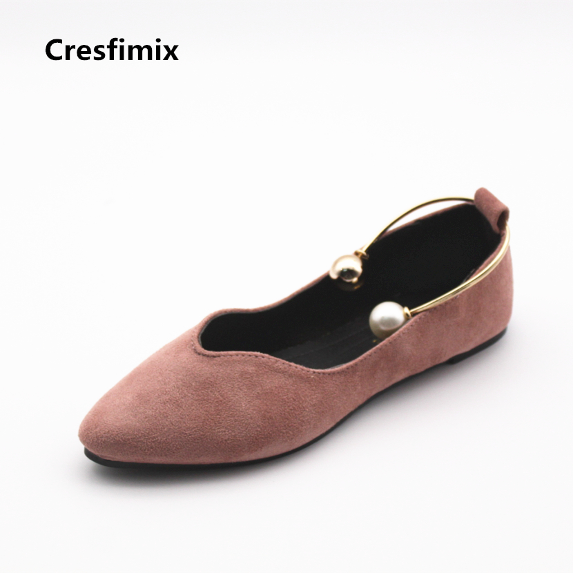 Cresfimix women casual flock pink pearl flat shoes lady cute spring & summer slip on flats female leisure & sexy shoes sapatos cresfimix sapatos femininos women casual soft pu leather pointed toe flat shoes lady cute summer slip on flats soft cool shoes