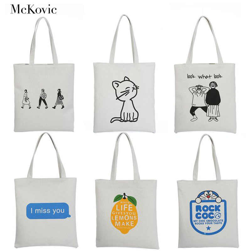 1d41c680fd Mckovic 2018 White Canvas Shopping Bags Casual Cute Pattern Shoulder Bags  Eco Reusable Handbags For Women