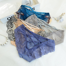 2019 Women Lace Transparent Embroidered Underwear Charming Flower Pattern Briefs for Female Hollow Ladies Sexy Low Waist