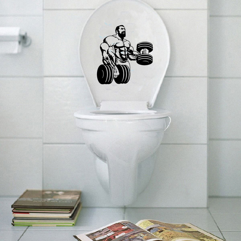 Powerlifting Fitness Fashion Bathroom Vinyl Wall Toilet Stickers Decals 6WS0061