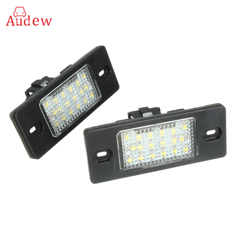 2Pcs 18 LED License Plate Lights SMD3528 Number Plate Light Lamp For Porsche/Cayenne/VW/Golf/Tiguan direct fit for kia sportage 11 15 led number license plate light lamps 18 smd high quality canbus no error car lights lamp