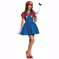 Halloween Super Mario Luigi Bros Costume Women Plumber Costume Adult Mario Bros Cosplay Sexy Dress Costume
