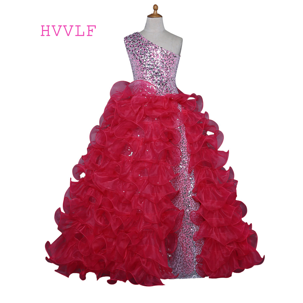 Red 2019   Girls   Pageant   Dresses   For Weddings Ball Gown One-shoulder Organza Ruffles Beaded Sequins   Flower     Girl     Dresses