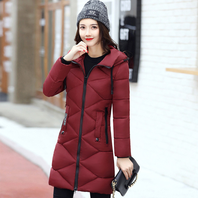 2017 New Sell Women Winter Warm Coat Winter Thick Hooded Womens Slim Long Setion Down Jackets Female Overcoat High Quality