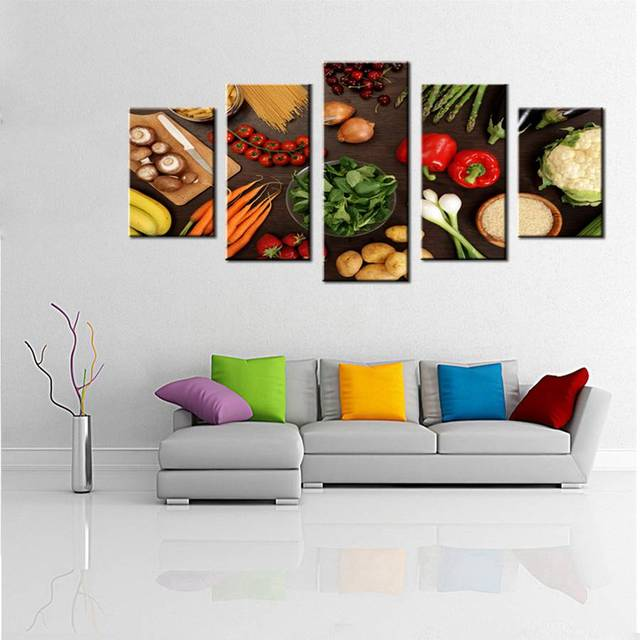kitchen wall art decor custom made cabinets canvas prints fresh color healthy eating vegetables fruit pizza hamburger painting