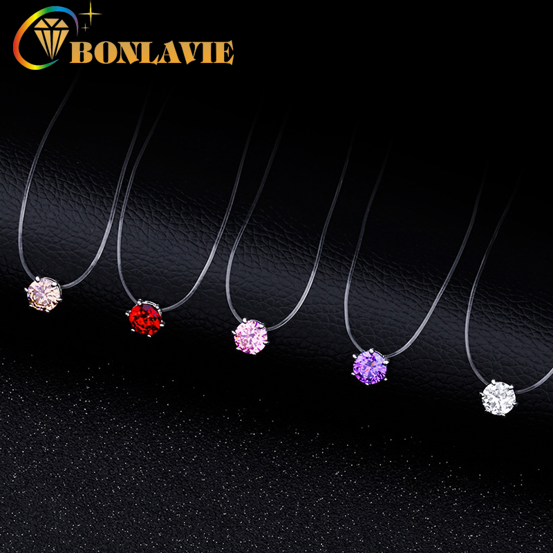 Transparent Invisible Finish Line Necklace 5 Colors Zircon Choker Women New Fashion Jewelry Necklace Girlfriend Gift ...