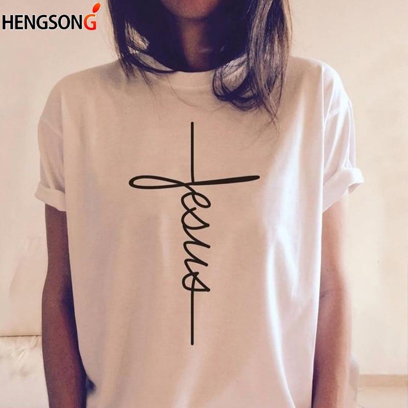 New Letter Print T-shirt Women Fashion Tees Christian Cross Summer Casual Short Sleeve TShirt O Neck Female Tops Camiseta