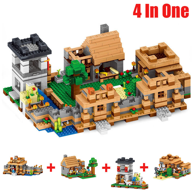 1221pcs Minecrafted Figures 4 In 1 My World Neverland Ranch Model Minecraft Building Blocks Plastic Toys For Children Gift#E smartable building blocks of my world minecrafted lepin 4in1 steve with weapon figures brick model toys for children gift lr 823