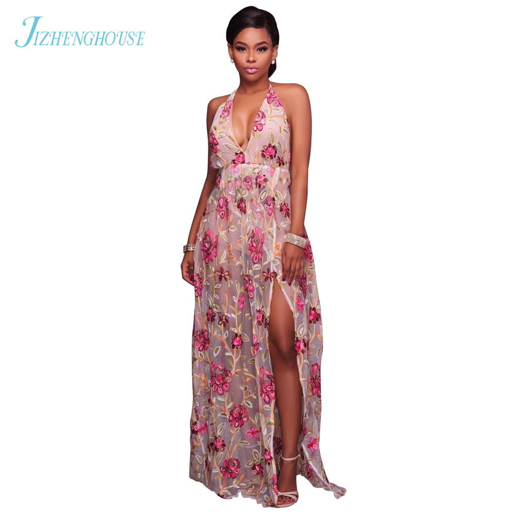 JIZHENGHOUSE Beach Style V Neck Summer Sexy Party Flower Print Casual Jumpsuits