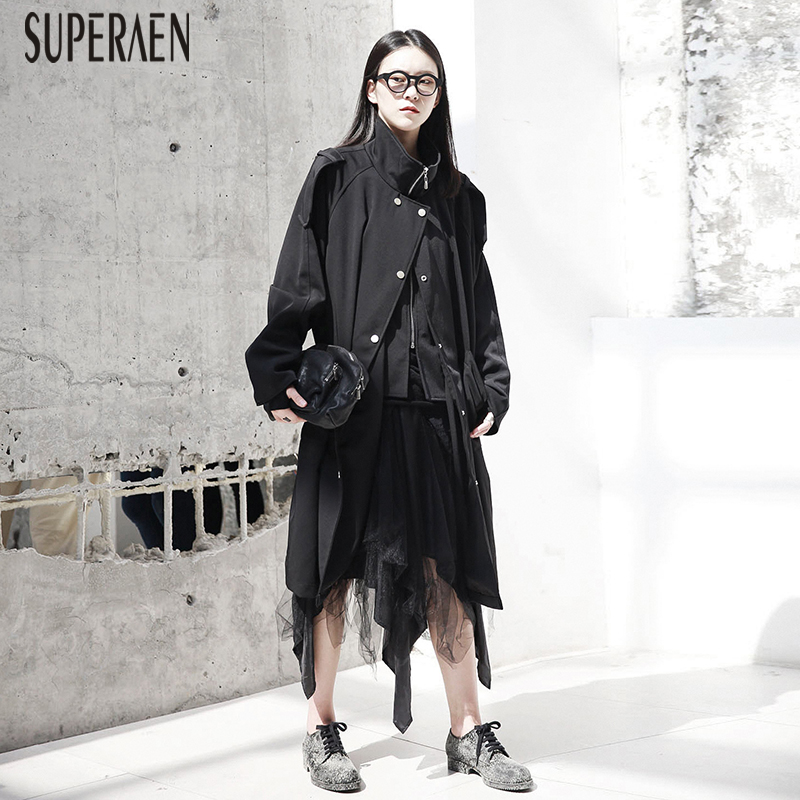 SuperAen Europe 2019 Autumn New Ladies Casual Windbreaker Solid Color Cotton   Trench   Coat for Women Wild Fashion Women Clothing