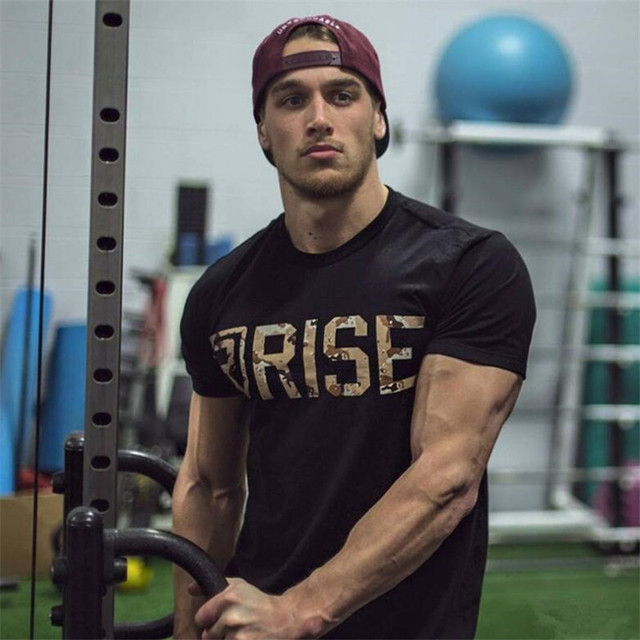 New RISE Workout Clothes Cotton RISE  Gyms T Shirts  Mens Short Sleeve T-shirt Muscle Gyms Fitness Clothing Bodybuilding Tops