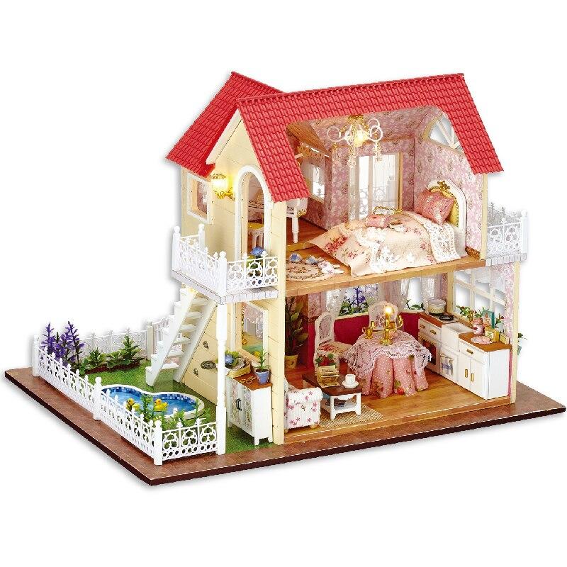 Mignon chambre bricolage maison de poupée modèle Miniature avec LED 3D meubles en bois maison jouets faits à la main cadeaux d'anniversaire pour enfants A033 # E-in Poupée Maisons from Jeux et loisirs    1