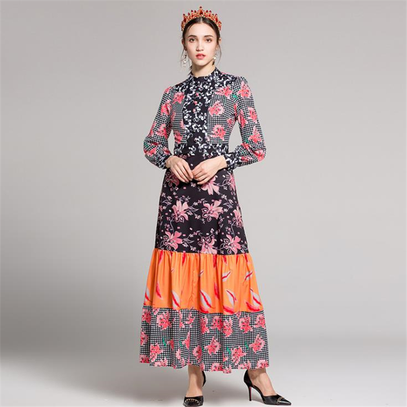 UNIQUEWHO Ladies Women Vintage Flower Print Dress Slim Elegant Maxi Dress Long Sleeve Spring Summer Dress Holiday Long Dresses