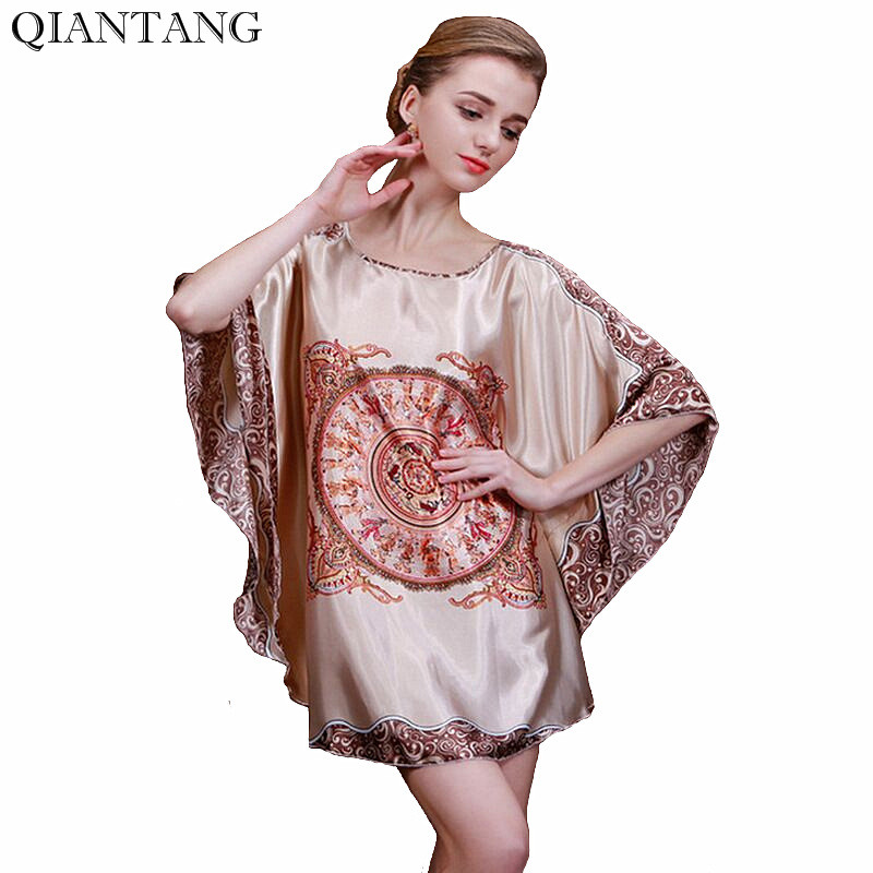 New Fashion Style Womens Faux Silk Robe Nightdress Summer Bath Gown Sleepwear Bathgown Mujer Pijama One Size Y8842