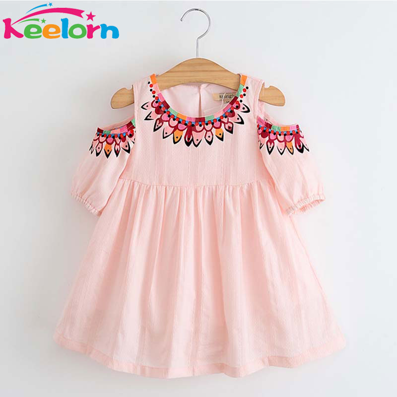 Keelorn Girls Dresses 2017 Summer Fashion Style Dresses Children Clothing Casual pattern Design for Girls Clothes Princess dress keelorn girls dress 2017 brand princess dresses kids clothes sleeveless banana leaf pattern print design for girls clothes