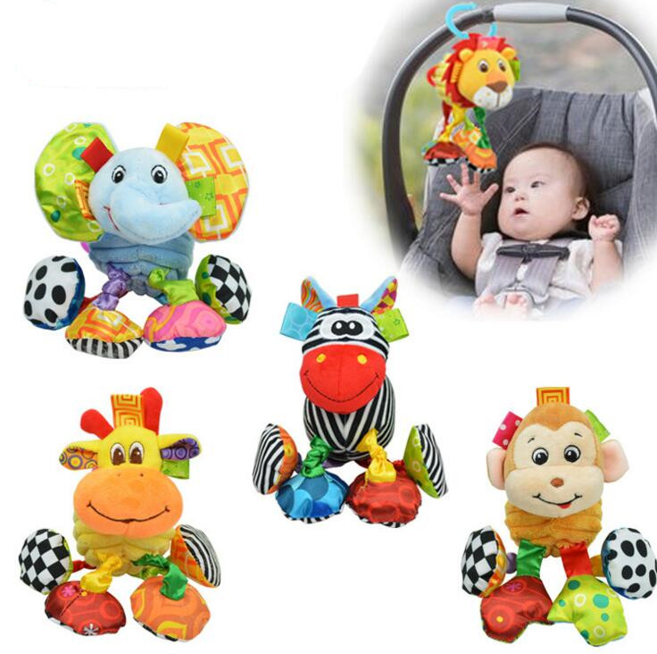 sozzy Lovely Sell Baby Training Educational Plush Toys Cute Pull Shock Lathe Hanging Rattles Belt Clip 20%Off new activity spiral stroller car seat travel lathe hanging toys baby rattles toy