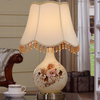 YOOK 33*54CM Hand painted Flowers Stickers Vase Glass Table Lamp European style LED Table Lamp Luxury Decorative 220V 110V E27